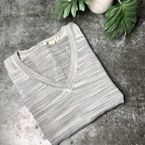 ANTHROPOLOGIE Moth Gray Striped V Neck Sweater